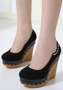 Black Round Toe Wedges Rivet Casual High-Heeled Shoes