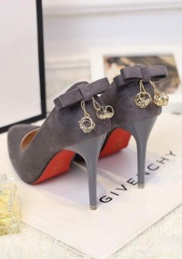 Grey Point Toe Stiletto Bow Chain Fashion High-Heeled Shoes