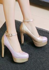 Purple Round Toe Chunky Buckle Fashion High-Heeled Shoes