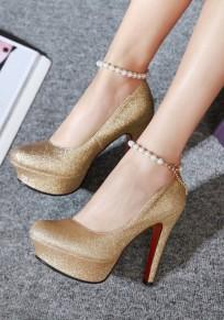 Zapatos punta redonda estilete lentejuelas cadena de perlas de moda de tacón alto de oro