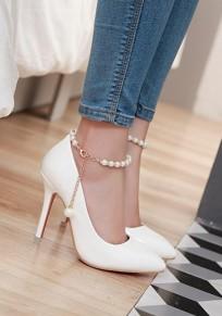 Weiß Punkt Zehe Stilett Perle Mode High-Heels Schuhe