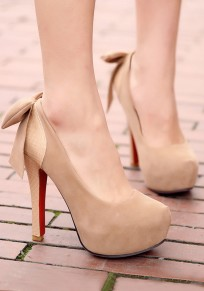Apricot Round Toe Stiletto Bow Casual High-Heeled Shoes