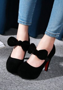 Black Round Toe Chunky Bow Fashion High-Heeled Shoes