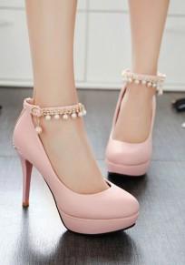 Chaussures bout rond talon aiguille perle mode à talons hauts rose