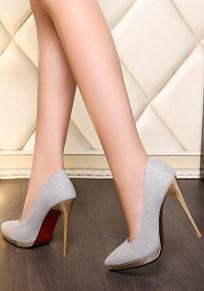 Chaussures pointe pointue talon aiguille paillettes de mode à talons hauts argent