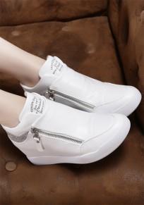 Chaussures bout rond rhinestone plat dans le plus haut décontracté cheville blanc