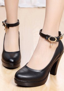 Zapatos punta redonda hebilla gruesa remache casuales de tacón alto negro