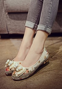 Beige runde Zehe drucken Bogen Mode flache Schuhe