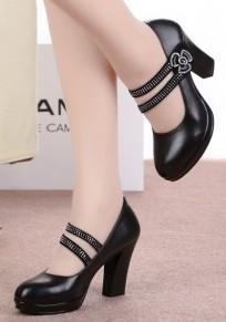 Schwarze runde Zehe klobig Strass Beiläufig High-Heels Schuhe