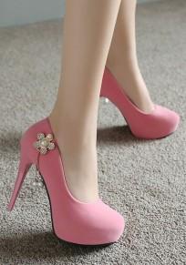 Zapatos punta redonda de aguja de aguja de moda de tacón alto rosa