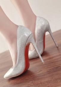 Zapatos puntera punta estilete moda lentejuelas de tacón alto de plata