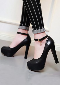 Black Round Toe Chunky Buckle Fashion High-Heeled Shoes