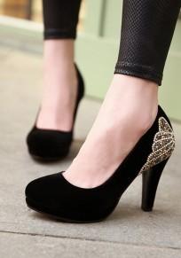 Zapatos punta redonda fornido diamante de imitación casuales de tacón alto negro