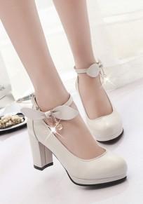 Beige runde Zehe klobig Bogen Strass süße High-Heels Schuhe
