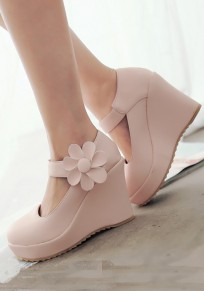 Pink Round Toe Flower Buckle Sweet Wedges Shoes