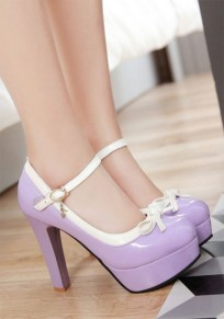 Purple Round Toe Chunky Bow Buckle Sweet High-Heeled Shoes
