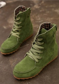 Green Round Toe Sequin Lace-up Flat Casual Boots
