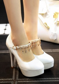 White Round Toe Stiletto Rhinestone Buckle Fashion High-Heeled Shoes