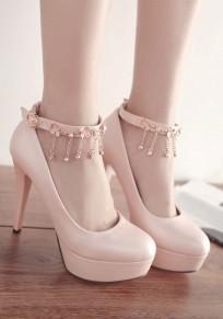 Zapatos punta redonda de aguja de diamantes de imitación hebilla de tacón alto rosa