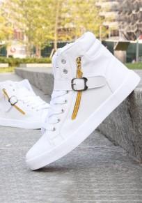 Chaussures bout rond fermeture éclair boucle occasionnel plat blanc