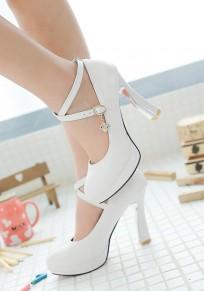 Zapatos punta redonda hebilla de strass fornido dulce de tacón alto blanco