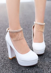 White Round Toe Chunky Rhinestone Buckle Tassel Sweet High-Heeled Shoes