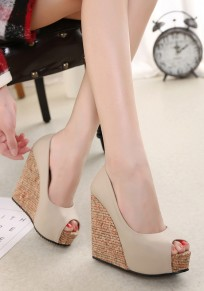 Apricot Round Toe Piscine Mouth Fashion Wedges Shoes