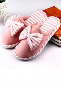 Orange Round Toe Bow Striped Print Flat Casual Slippers