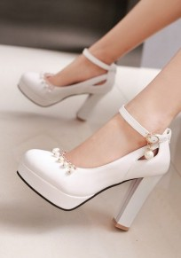 White Round Toe Chunky Pearl Buckle Sweet High-Heeled Shoes