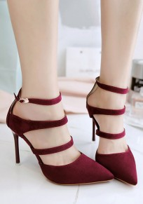 Dark Red Point Toe Stiletto Hollow-out Buckle Fashion High-Heeled Shoes