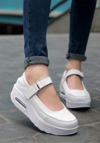 White Round Toe Heavy-Soled Casual Ankle Shoes