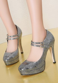 Silver Round Toe Chunky Double Buckle Fashion High-Heeled Shoes