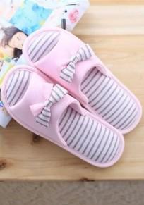 Redonda dedo del pie pajarita de rayas de impresión planas zapatillas ocasionales rosa