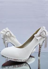White Round Toe Stiletto Rhinestone Bow Fashion High-Heeled Shoes
