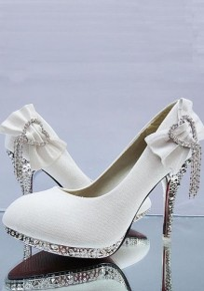 White Round Toe Stiletto Pumps Rhinestone Bow Tassel Sparkly Elegant Wedding Prom High-Heeled Shoes