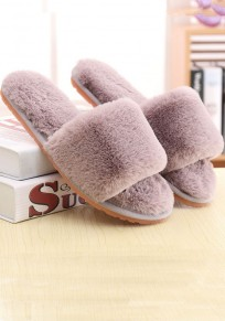 Grey Round Toe Flat Casual Padded Slippers