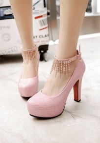 Chaussures bout rond gros strass gland doux talons hauts rose