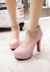 Zapatos punta redonda borla gruesa diamante de imitación dulce de tacón alto rosa