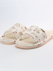 Beige Kitten Pattern Cute Flat Slippers