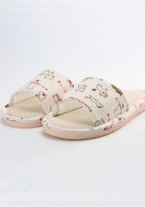 Patrón de gatito linda pantuflas planas beige