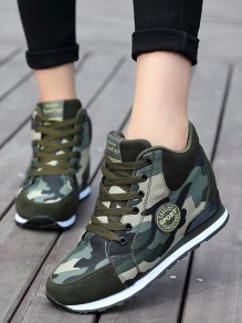Camouflage Round Toe Flat Within The Higher Print Casual Shoes