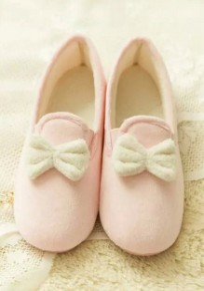 Chaussures bout rond plat nœud papillon doux cheville rose