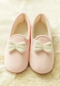 Zapatos punta redonda pajarita plana empate tobillo rosa