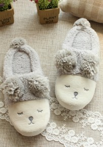 Grey Cartoon Sheep Print Faux Fur Furball Cute Flat Slippers