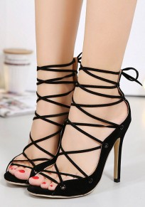 Black Round Toe Stiletto Hollow-out Casual High-Heeled Sandals