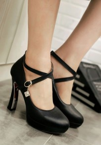 Black Round Toe Chunky Buckle Casual High-Heeled Shoes