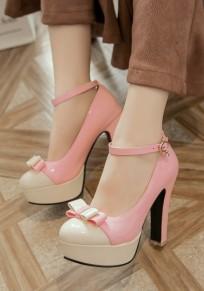 Zapatos punta redonda hebilla de corbata gruesa dulce de tacón alto rosa