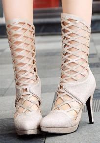 Stivali punto punta A spillo traforati di moda A metà polpaccio d'oro