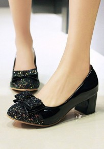 Zapatos punta redonda fornido arco empate sequin casuales de tacón alto negro