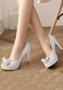 White Round Toe Chunky Rhinestone Bow Fashion High-Heeled Shoes